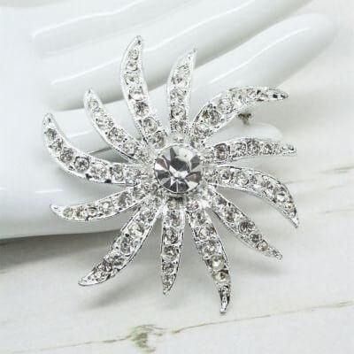 Silver Wedding Jewellery Vintage Crystal Starburst Snowflake Brooch Pin
