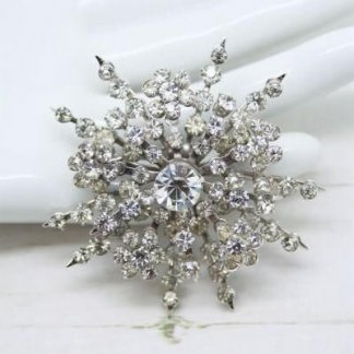 Star Rhinestone Silver Signed Coro Brooch Pin
