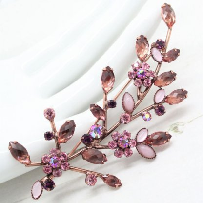 Statement Joan Rivers Pink and Mauve Plum Floral Spray Brooch