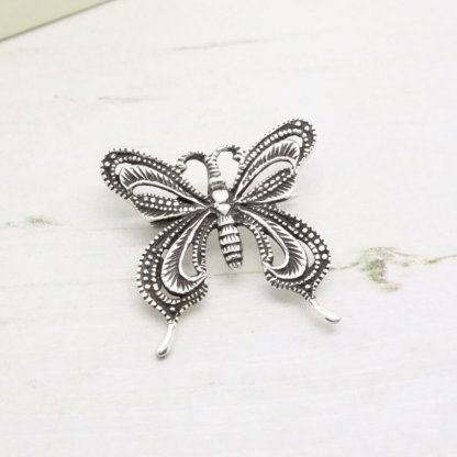 Sterling Silver Textured Butterfly Brooch Pin