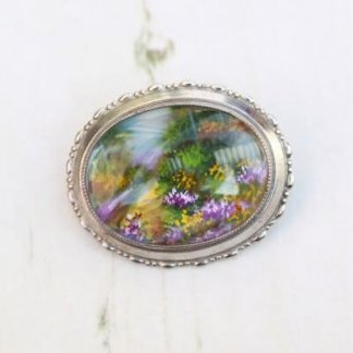 TLM (Thomas L Mott) Singed Hand Painted Garden Brooch Pin