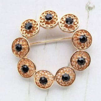 Vintage Black Rhinestone Circle Brooch Pin