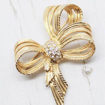 Vintage Crystal Gold Plated Bow Brooch