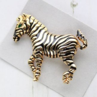 Vintage Large Zebra Stylish Enamel Brooch