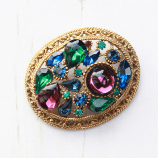 Vintage Multi Coloured Jewel Encrusted Large Brooch By Sphinx