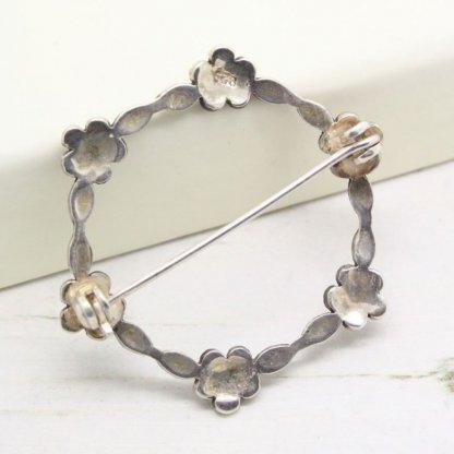 Vintage Sterling Silver Marcasite Flower Circle Brooch