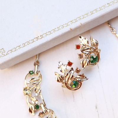 1950s Jewelcraft Gold Floral Rhinestone Vintage Necklace & Earrings Set