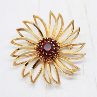 1960s Sarah Coventry Deep Burgundy Flower Brooch