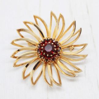 1960s Sarah Coventry Deep Burgundy Flower Brooch