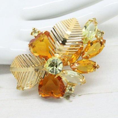 1960s Vintage Open Back Amber Rhinestone Floral Leaf Brooch