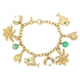 1960s Vintage Sarah Coventry Under The Sea 'Sea Charms' Gold Cham Bracelet