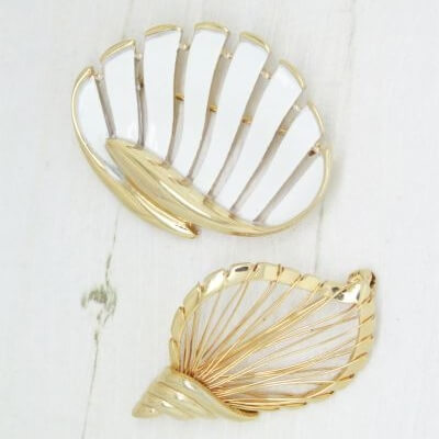 1980s Seaside Gold & White Enamel Shell Brooches