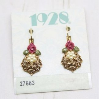 1928 Jewelry Rose Drop Pearl Earrings