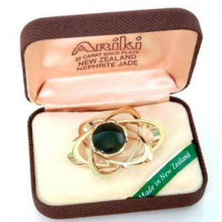 Ariki Gold Plated Nephrite Green Jade Brooch