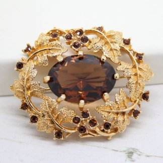 Sarah Coventry Amber Crystal Jewelled Heritage Brooch
