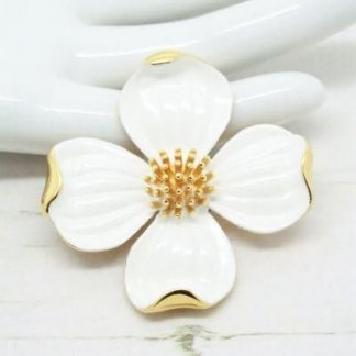Trifari White Enamel Dogwood Flower Brooch Pin