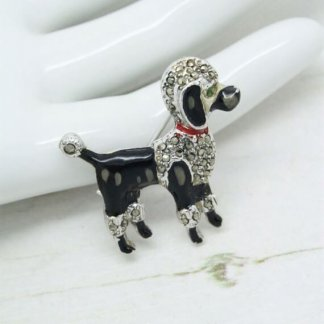 True 1950s Vintage Marcasite and Enamel French Poodle Brooch Pin