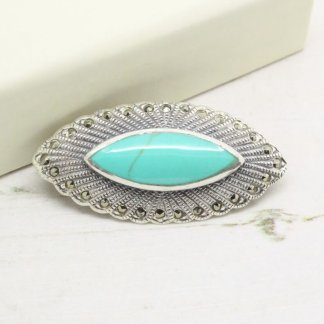 Turquoise and Marcasite Sterling Silver Brooch