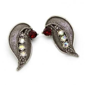 Vintage 1950s Silver & Red Rhinestone Clip Earrings