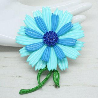 Vintage 1960s Mod Blue Enamel Metal Layered Flower Brooch