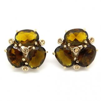 Vintage 1980s Signed Monet Topaz Glass Cluster Earrings
