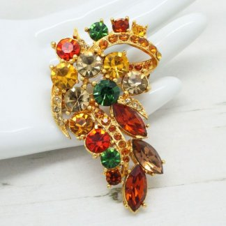 Vintage Fire Jewel Rhinestone Signed Exquisite Brooch Pin