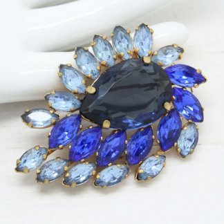 Vintage Open Back Rhinestone Royal Blue Brooch