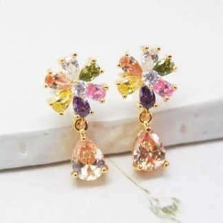 Vintage Pastel Cubic Zirconia Flower Drop Earrings