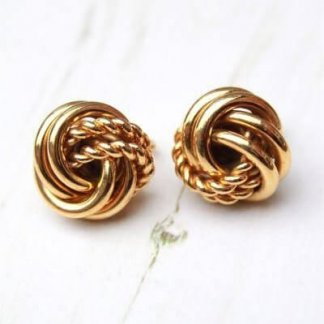 Vintage Signed Napier Gold Knot Earrings
