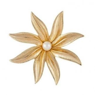Vintage Wedding Jewellery Sarah Coventry Gold Plated Faux Pearl Flower Brooch Pin