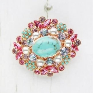 Whimsical Genuine Vintage Turquoise Pink and Violet Rhinestone Brooch
