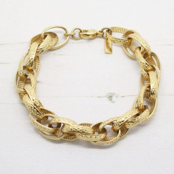 Monet Gold Textured Double Link Bracelet