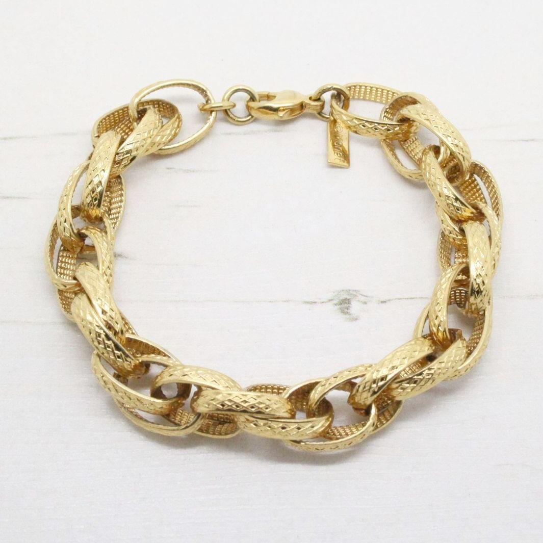 Monet Gold Textured Double Link Bracelet Qb Vintage
