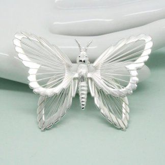Monet Silver Wings Butterfly Brooch Pin