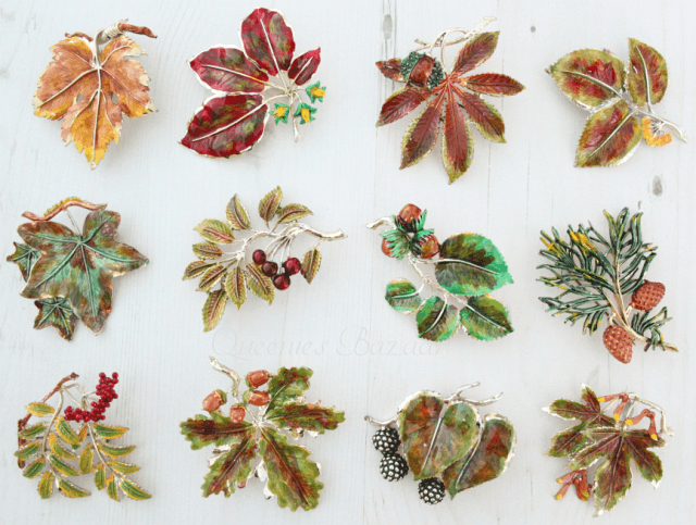 Exquisite Vintage Enamel Leaf Brooches Collection and Full Set