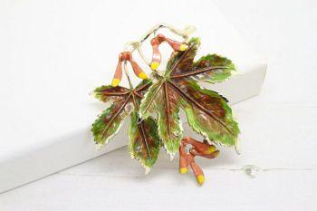 Exquisite Vintage Sycamore Leaf Berry Enamel Brooch
