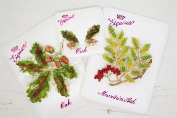 Vintage Exquisite Enamel Leaf Brooches and Earrings with card packaging backs and boxes