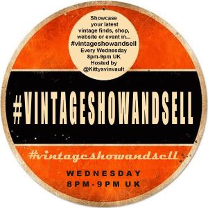 Vintage Hashtags #vintageshowandsell every Wednesday at 8pm-9pm GMT