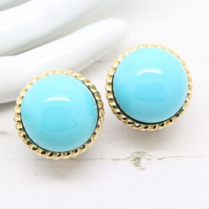 1970s Signed Ciner Gold Textured Timeless Style Faux Turquoise Earrings