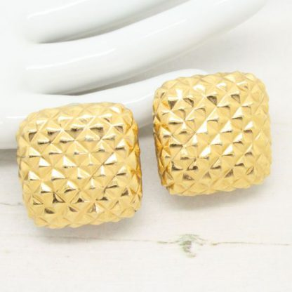 1980s Signed Ciner Gold Textured Square Earrings