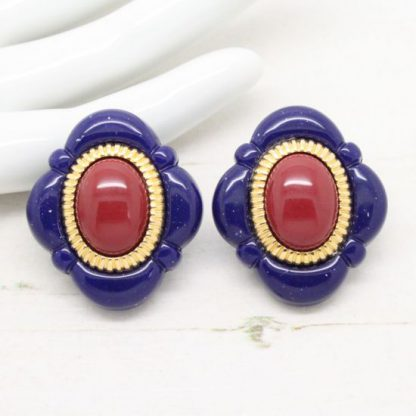 Bold Plastic Navy Blue, Red & Gold Vintage Earrings