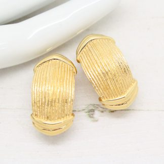 Burberrys 1980s Vintage Textured Gold Earrings