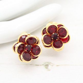 Swarovski Bezel Set Open Back Red Crystal Vintage Earrings