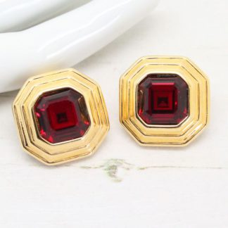 Vintage Signed Swarovski Asscher Clip Earrings