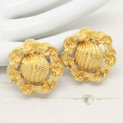 1970s Vintage Monet Textured / Woven Clip On Earrings