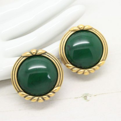 1980s Vintage Monet Green Cabochon Antique Gold Clip On Earrings