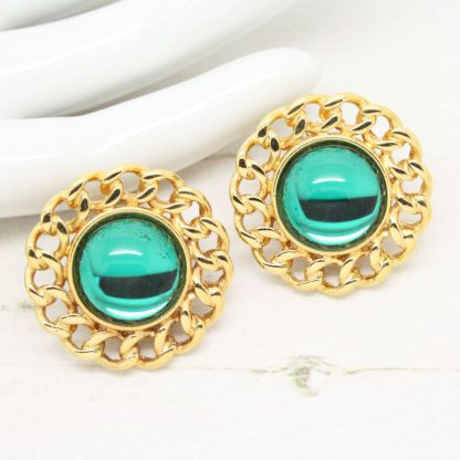 Vintage Signed Monet Jewel Green and Gold Clip On Earrings