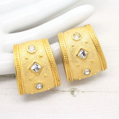 Monet Etruscan Style Swarovski Crystal Clip On Earrings