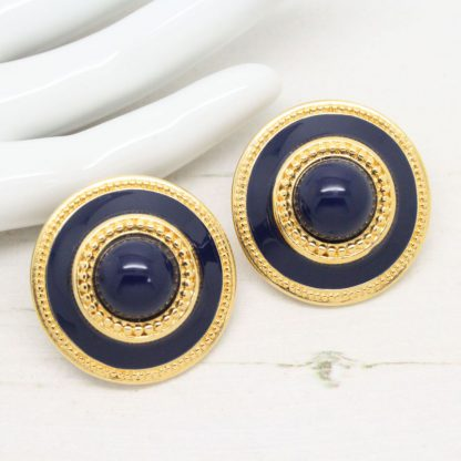 1980s Vintage Monet Navy Blue Enamel Clip On Earrings