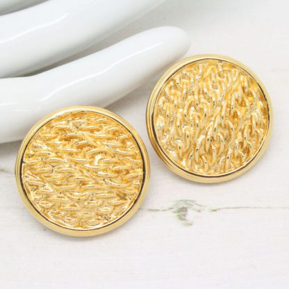 1980s Vintage Monet Gold Curb Link Circle Clip On Earrings